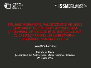 Valentina Noviello Giornata di Studio Le Migrazioni nel Mediterraneo. Storia, Economia, Linguaggi