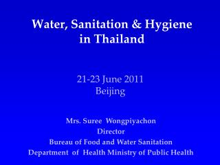 Water, Sanitation & Hygiene in Thailand