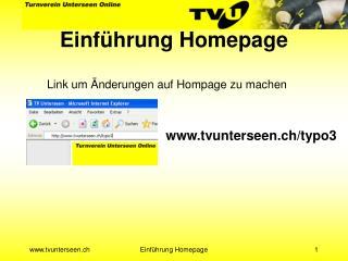 Einführung Homepage