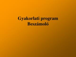 Gyakorlati program  Beszámoló