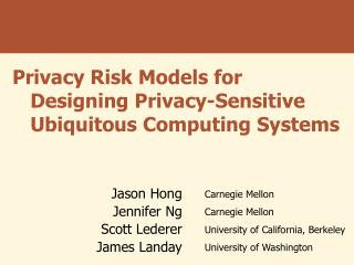 Privacy Risk Models for Designing Privacy-Sensitive Ubiquitous Computing Systems