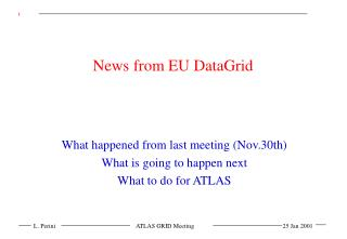 News from EU DataGrid