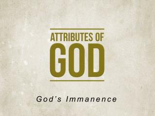 God's Immanence