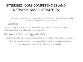 SYNERGIES, CORE COMPETENCIES ,AND NETWORK-BASED  STRATEGIES