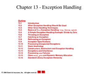 Chapter 13 - Exception Handling