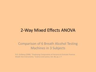 2-Way Mixed Effects ANOVA