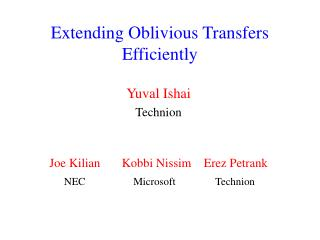 Extending Oblivious Transfers  Efficiently