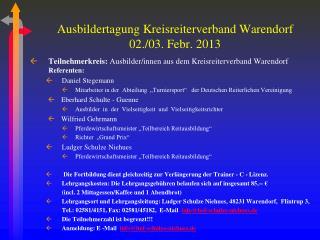 Ausbildertagung Kreisreiterverband Warendorf 02./03. Febr. 2013