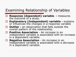Examining Relationship of Variables