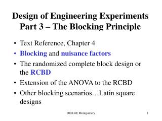 Design of Engineering Experiments Part 3 – The Blocking Principle