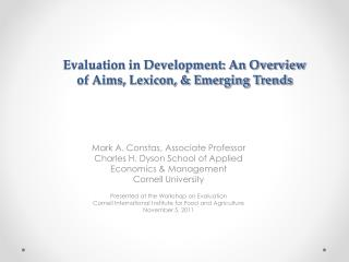 Evaluation in Development: An Overview  of Aims, Lexicon, & Emerging Trends