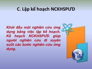 C. Lập kế hoạch NCKHSPƯD