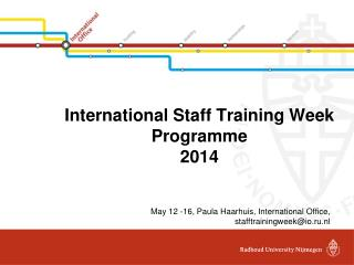 International  Staff  Training Week Programme 2014
