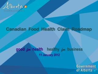 Canadian  Food  Health  Claim  Roadmap