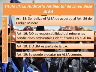 Título III: La Auditoria Ambiental de Línea Base ALBA