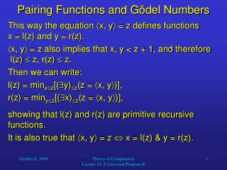 Pairing Functions and G ö del Numbers