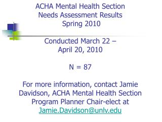 ACHA MENTAL HEALTH SECTION NA 2010