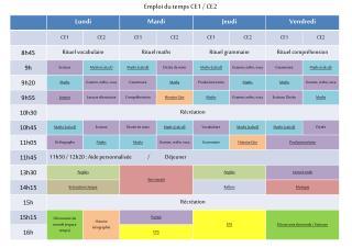 Emploi du temps CE1 / CE2