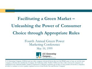 Facilitating a Green Market �  Unleashing the Power of Consumer Choice through Appropriate Rules
