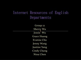 Internet Resources of English Departments