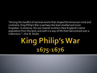 King Philip s War 1675-1676
