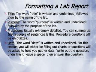 Formatting a Lab Report