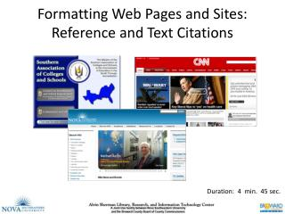 Formatting Web Pages and Sites: Reference and Text Citations