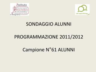 SONDAGGIO ALUNNI PROGRAMMAZIONE 2011/2012 Campione N°61 ALUNNI