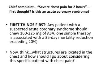 Evaluation of chest pain…