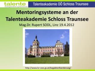 Mentoringsysteme  an der  Talenteakademie  Schloss Traunsee