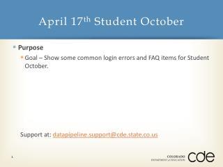 April  17 th Student October
