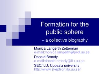 Formation for the public sphere  – a collective biography
