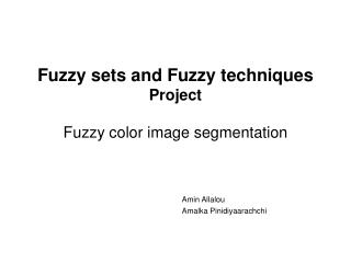 Fuzzy sets and Fuzzy techniques Project Fuzzy color image segmentation