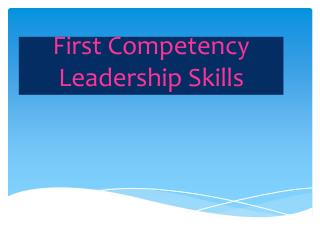 First Competency Leadership  Skills