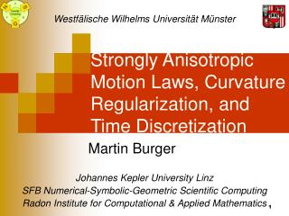Strongly Anisotropic Motion Laws, Curvature Regularization, and Time Discretization