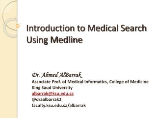 Introduction to Medical Search Using Medline