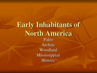 Early Inhabitants of  North America