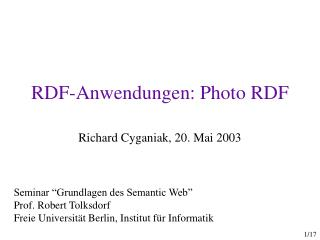RDF-Anwendungen: Photo RDF