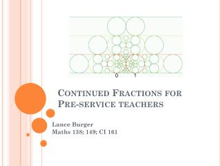 Continued Fractions for  Pre-service teachers