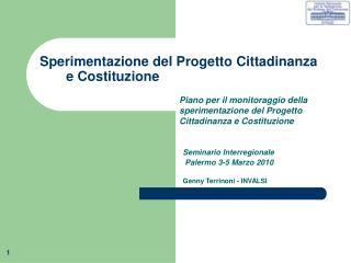 Sperimentazione del Progetto Cittadinanza e Costituzione
