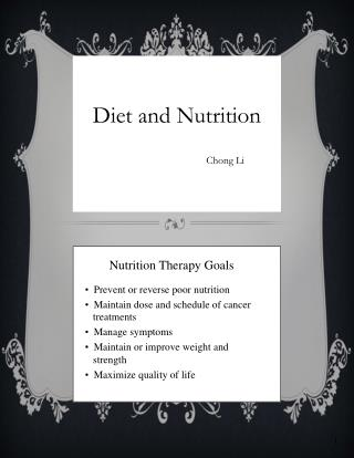 Diet and Nutrition C                                  c Chong  Li