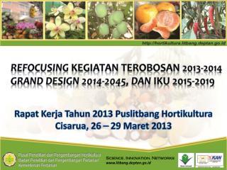 Refocusing  Kegiatan Terobosan  2013-2014 Grand Design  2014-2045, DAN  IKU 2015-2019