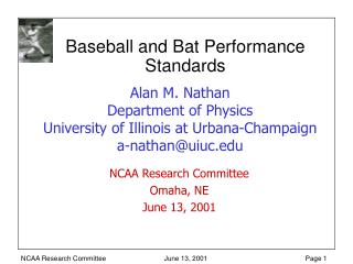 Baseball and Bat Performance Standards