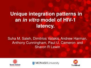 Unique integration patterns in an  in vitro  model of HIV-1 latency.