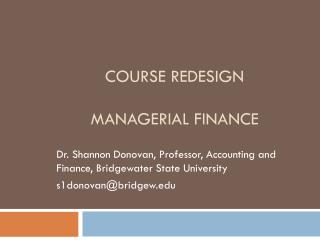 Course  Redesign  Managerial Finance