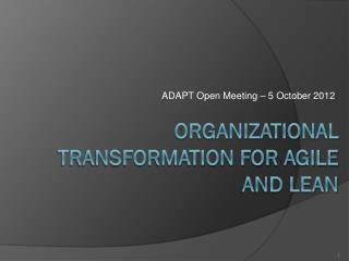 Organizational Transformation For Agile and Lean