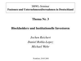 SBWL-Seminar Fusionen und Unternehmensübernahmen in Deutschland