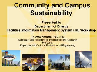 Community and Campus Sustainability  Presented  to Department of Energy