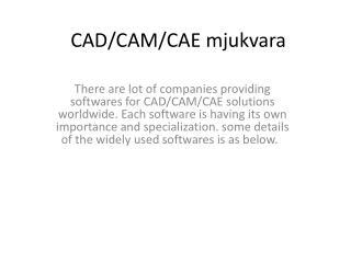 CAD/CAM/CAE  mjukvara