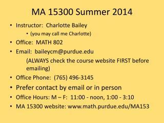 MA 15300 Summer 2014